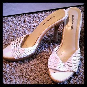 Classified White Cork Heels